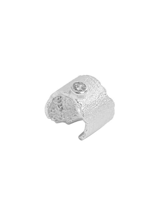 Silver [single] 925 Sterling Silver Rhinestone Irregular Minimalist Single Earring